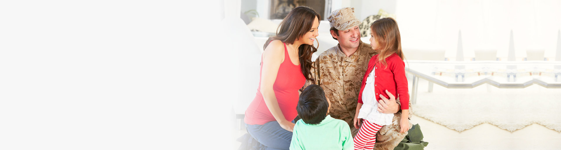 Military father with his family