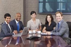 interracial group of business men & women